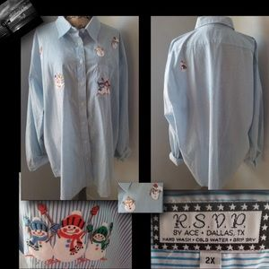 Tops - R.S.V.P by Ace - Snowman Button Down
